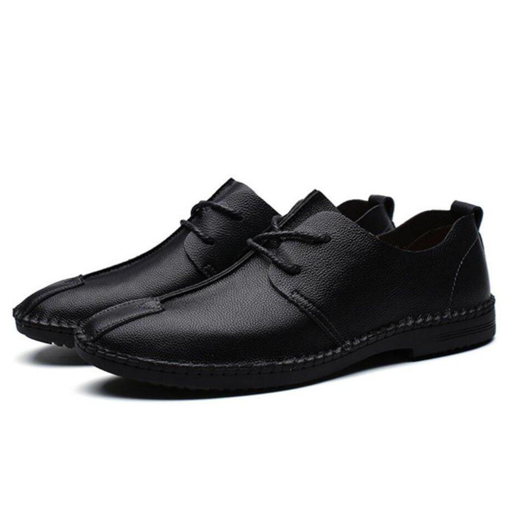 GAOLIXIA Zapatos de cuero de los hombres Zapatos ocasionales de la primavera retra Zapatos de moda solos Cordón zapatos antideslizantes de la parte inferior suave (Color : Negro, tamaño : 39) 39|Negro