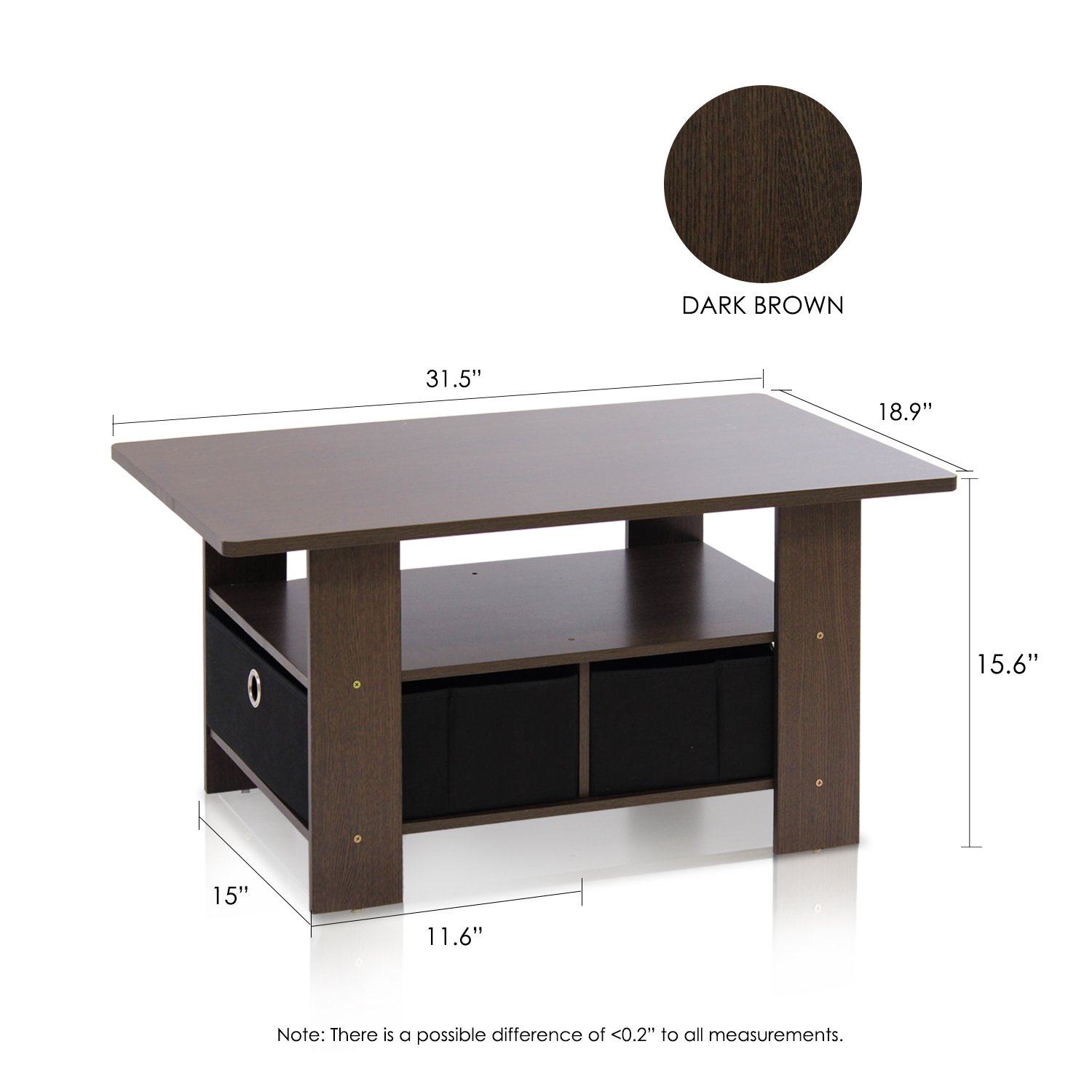 Amazon Furinno DBR BK Coffee Table with Bins Dark Brown