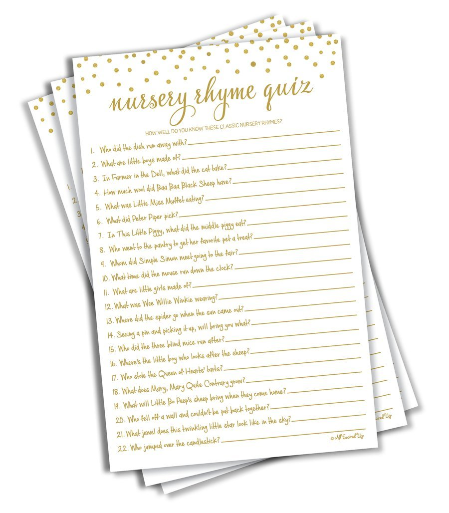 Nursery Rhyme Quiz Game - Baby Shower Games - Gold Confetti (50-sheets)