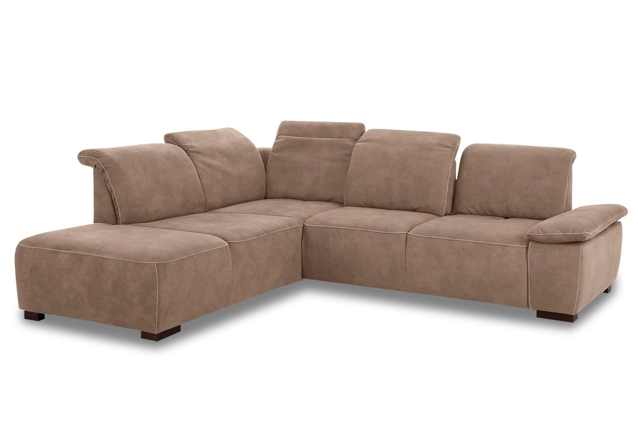 Sofa Sit&More Megaecke Tobago mit SITZVERSTELLUNG - Luxus-Microfaser Sand