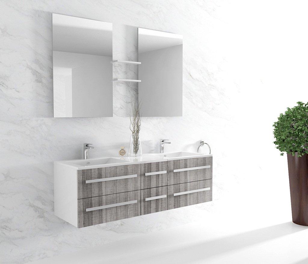 Badezimmermöbel, aus Holz, mit 2 Schalen Farbe: grau meliert-Referenznummer: CS112 G