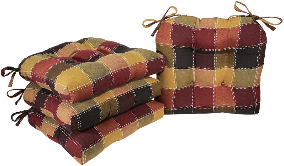 Arlee - Harris Plaid Chair Pad Seat Cushion, Full-Length Ties for Non-Slip Support, Durable, Superior Comfort and Softness, Reduces Pressure, Washable, 16 x 16 Inches (Red, Set of 4)