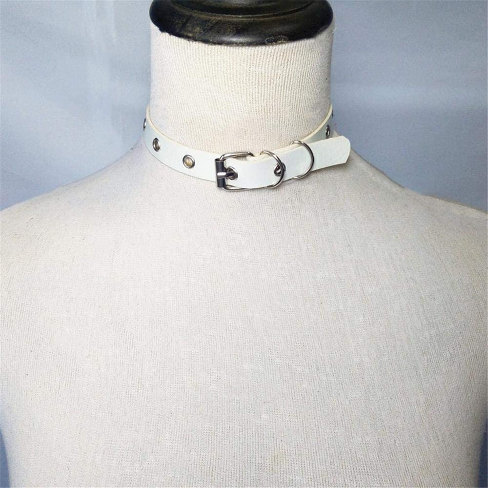 Color : Red Xo-kq Dog Collar Punk Gothic Style Leather Collar Choker Necklace O-Ring Neckband