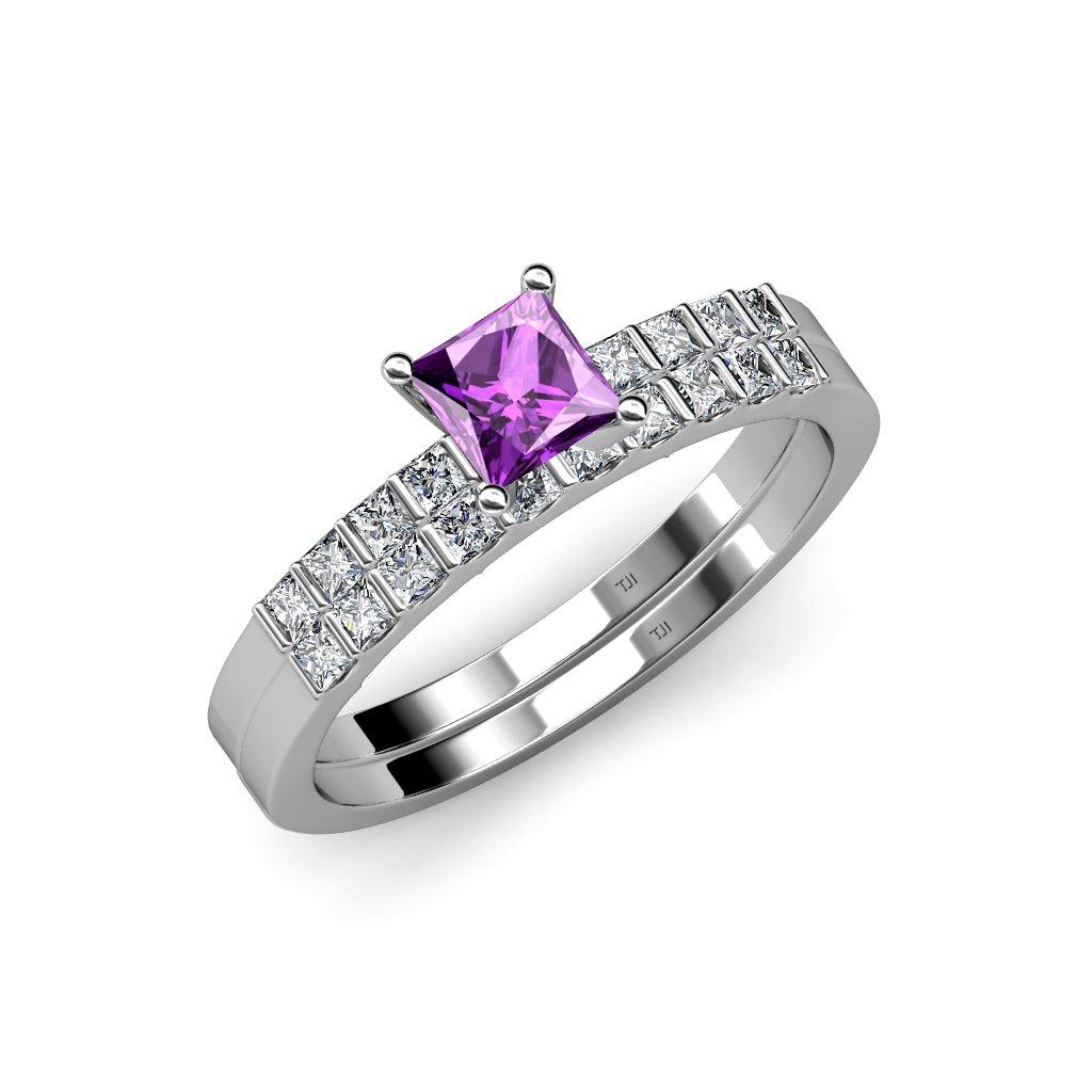 Amazon Com Trijewels Amethyst And Diamond Engagement Ring Wedding