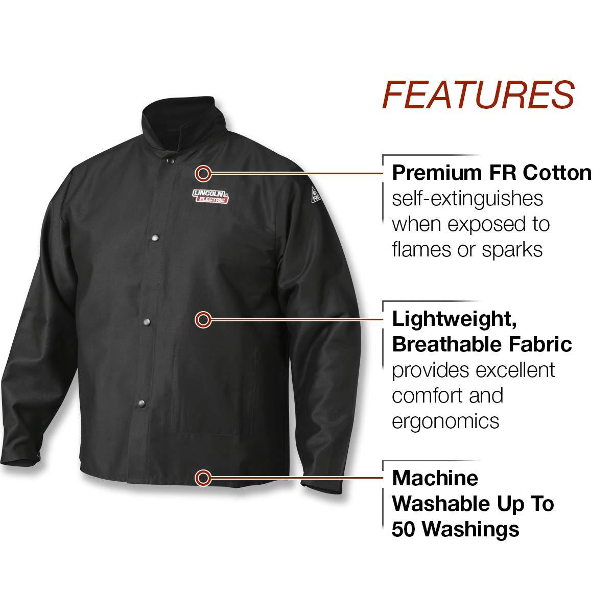 Lincoln Electric  Premium Flame Resistant (FR) Cotton Welding Jacket | Comfortable | Black | XXXL | K2985-XXXL by Lincoln Electric (Image #2)