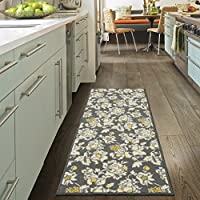 Ottomanson Studio Collection Floral Design Runner Rug, 20 X 59, Grey