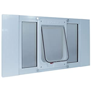 "Ideal Pet Products Aluminum Sash Window Pet Door, Adjustable to Fit Window Widths from 33"" to 38"""