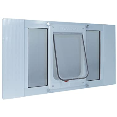Ideal Pet Products Aluminum Sash Window Pet Door, Adjustable to Fit Window Widths from 27  to 32