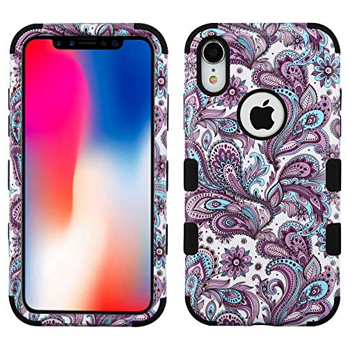 JoJoGold Case for Apple iPhone XR (6.1 Inch), Design Hybrid, Heavy Duty Hard Cover, Comes with Tempered Glass Screen Protector - European Paisley