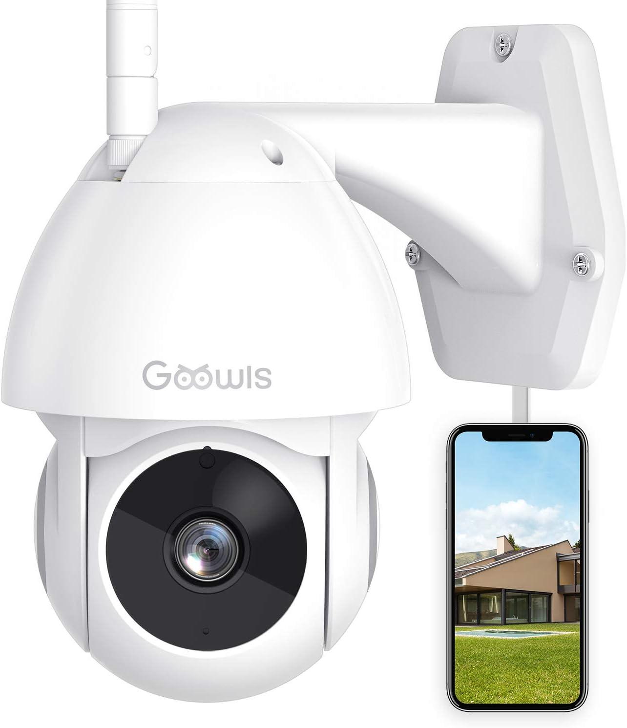 Cámara de Vigilancia Exterior, Goowls Cámara IP WiFi 1080p HD con Vista panorámica/inclinación de 360 ° IP65 a Prueba de Agua, Visión Nocturna, Detección de Movimiento, Audio Bidireccional