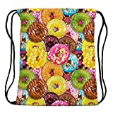 3D Print Sackpack Drawstring Bags Sack Light-Weight Nylon Backpack Outdoor Sports Resistance Water Travel Shoulder Bags Gym Bag Yoga Runner Daypack Team Training Gym Sack (Colorful Doughnut 1)