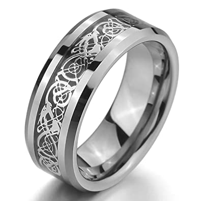 MunkiMix Tungsten Ring Band Silver Tone Black Irish Celtic Knot