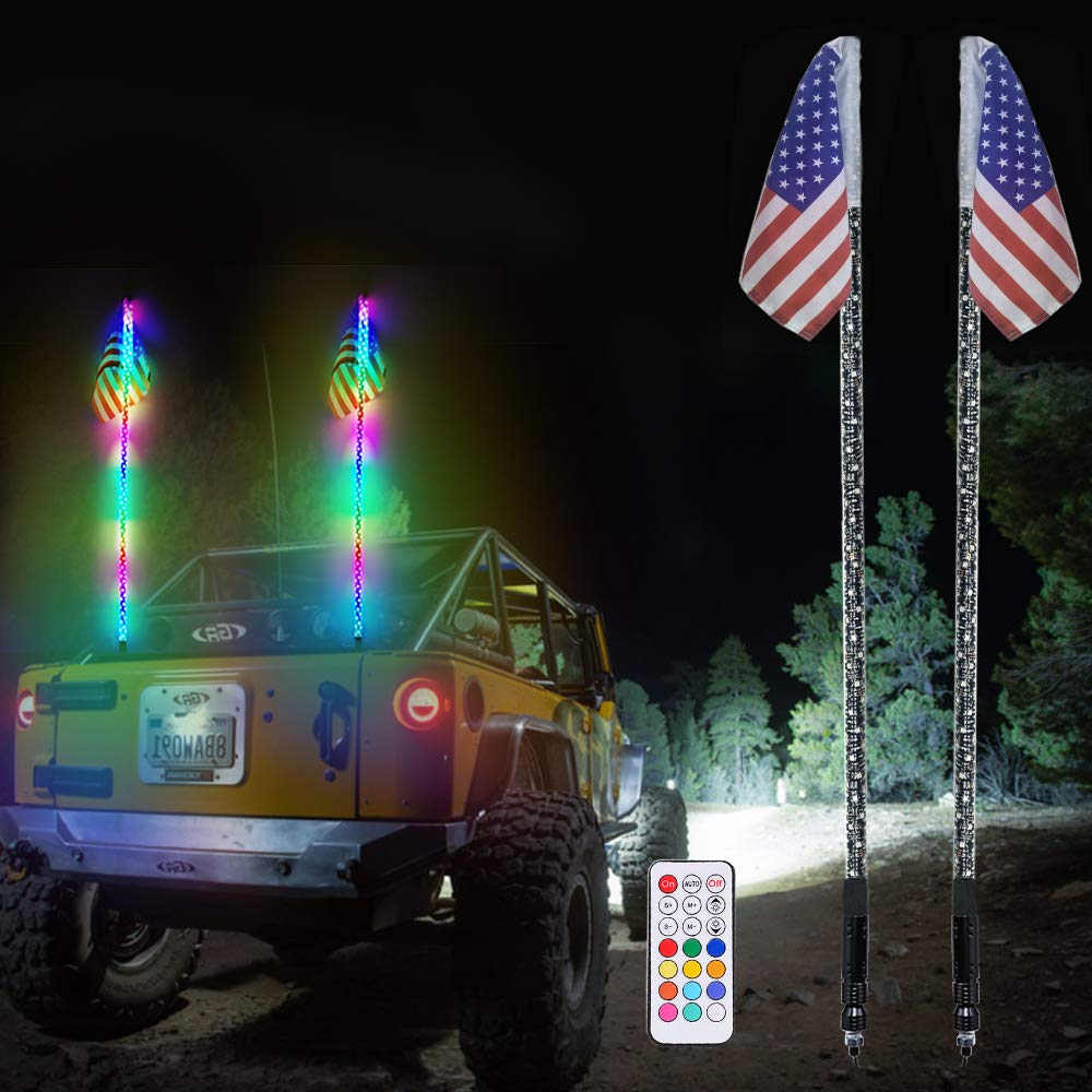 AddSafety 2PCS 5FT RF Remote Controll 360° Sprial LED Whips light With Dancing/Chasing Light LED Antenna Light For Off- Road Vehicle ATV UTV RZR Jeep Trucks Dunes.