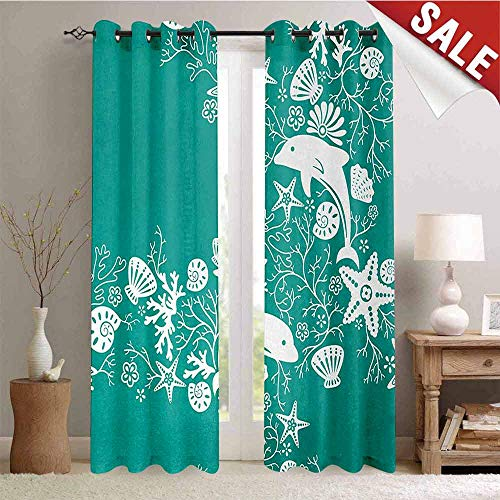 Hengshu Sea Animals Decor Curtains by Dolphins Flowers Sea Life Floral Pattern Starfish Coral Seashell Wallpaper Room Darkening Wide Curtains W84 x L96 Inch Sea Green -