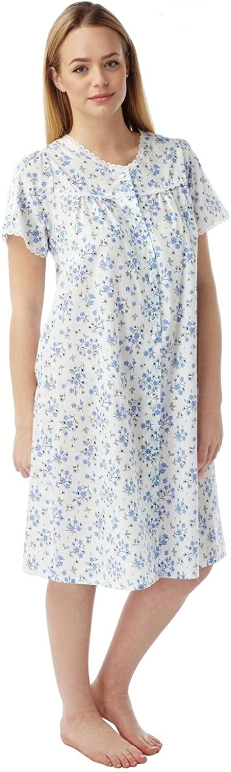 Womans Marlon Poly Cotton Short Sleeve Button Through Nightie Nightdress MN12