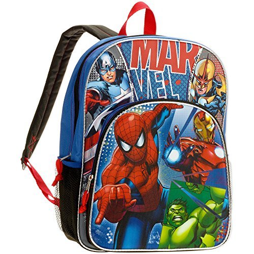 Marvel Super Heroes Avengers Kids Backpack 16 - Spiderman, Captain America, Iron Man (Super Heroes Avengers)