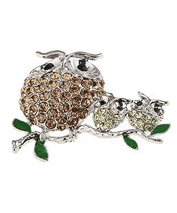 SM SunniMix Enamel Rhinestone Crystal Fish Butterfly Animal Insect Brooch Pin Jewelry - Owl