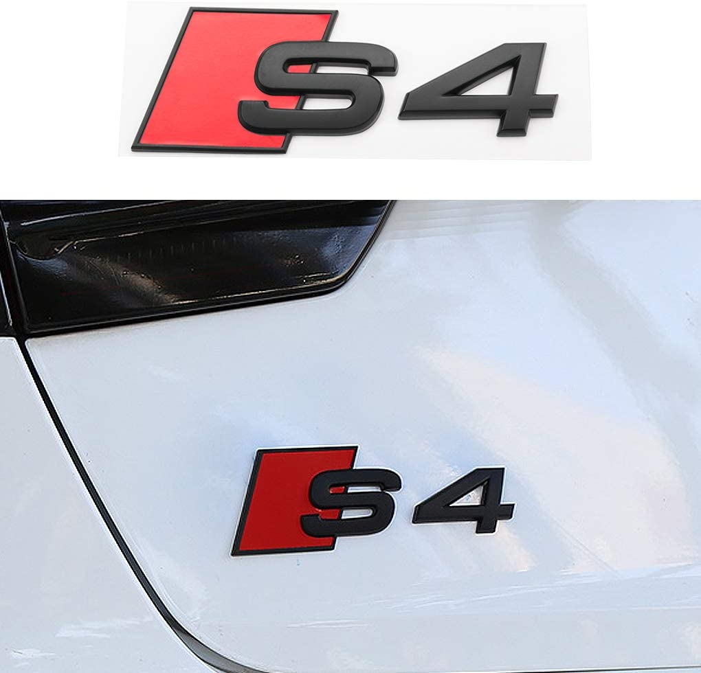 Silver HANBAO S4 Badge Rear Emblems 3D Decal Nameplate Car Decal Logo Sticker Replacement for Audi A4 Accessories