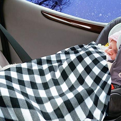 Electric Car Blanket Heated 12V Fleece Travel Throw Blanket Winter Camping Trip
