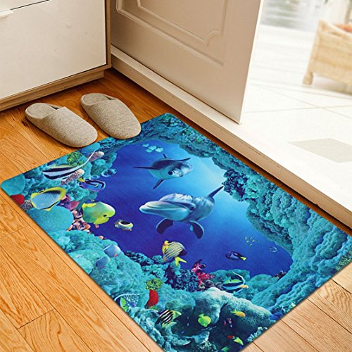 ... MAXYOYO Blue Anti-slip Underwater World Doormat,Vivid 3D Sea Bathroom  Mat Living Room
