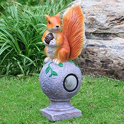 Pet Escultura Animal En Fibra De Vidrio Simulación Exterior De Ardilla De Luz Solar. Adornos De Ardilla Adorno De Hierba De Jardín 20x20x46cm: Amazon.es: Hogar