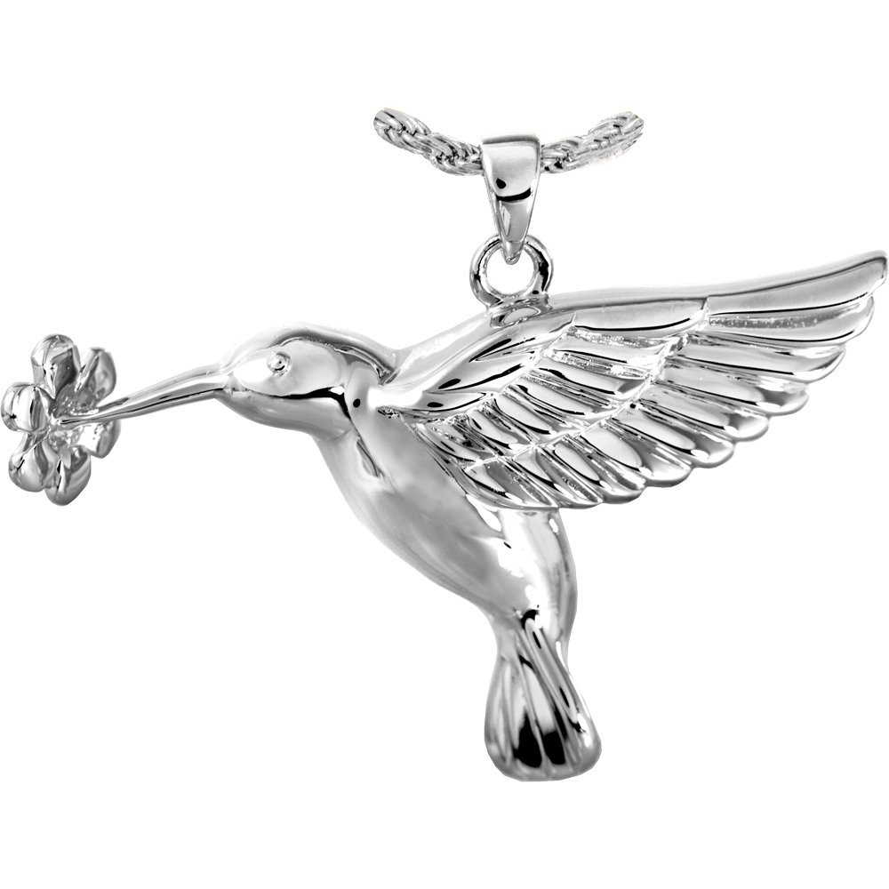 Memorial Gallery MG-3341s Hummingbird and Flower Sterling Silver Cremation Pet Jewelry
