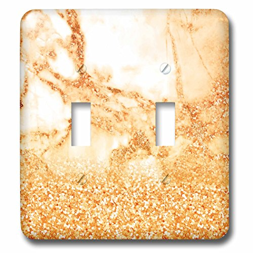 3dRose Uta Naumann Faux Glitter Pattern - Luxury Grey and Gold Glitter Metallic Faux Gem Stone Marble Print - Light Switch Covers - double toggle switch (lsp_268845_2)