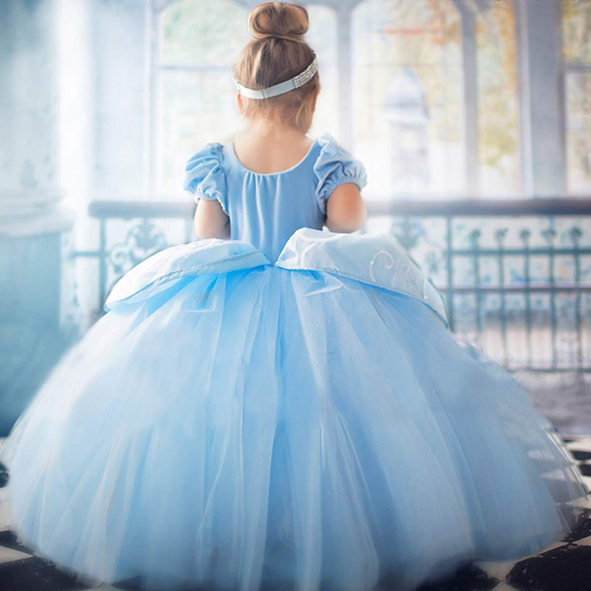 Cinderella Costumes Girls Princess Dress Up Fancy Halloween Christmas Party with Tiara and Choker Set Blue by TYHTYM (Image #5)