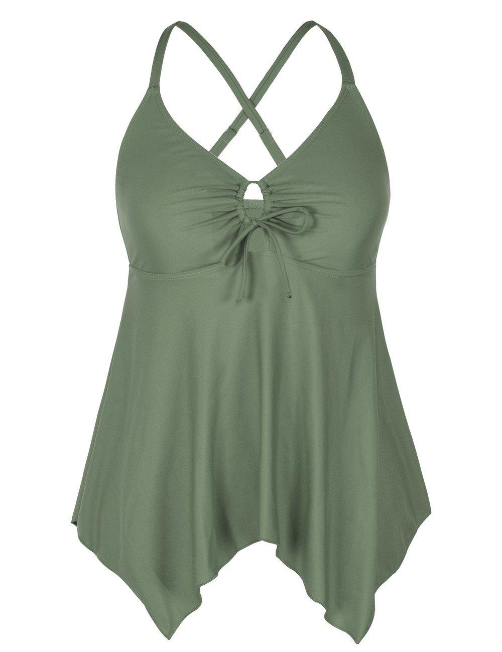 Mycoco Women's Tummy Control Front Tie Swim Top Cross Back Tankini Top Flowy Swimdress Army Green 22