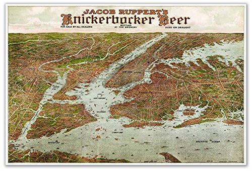 Knickerbocker Beer Panoramic Wall MAP of the Greater New York City area circa 1912 - measures 24