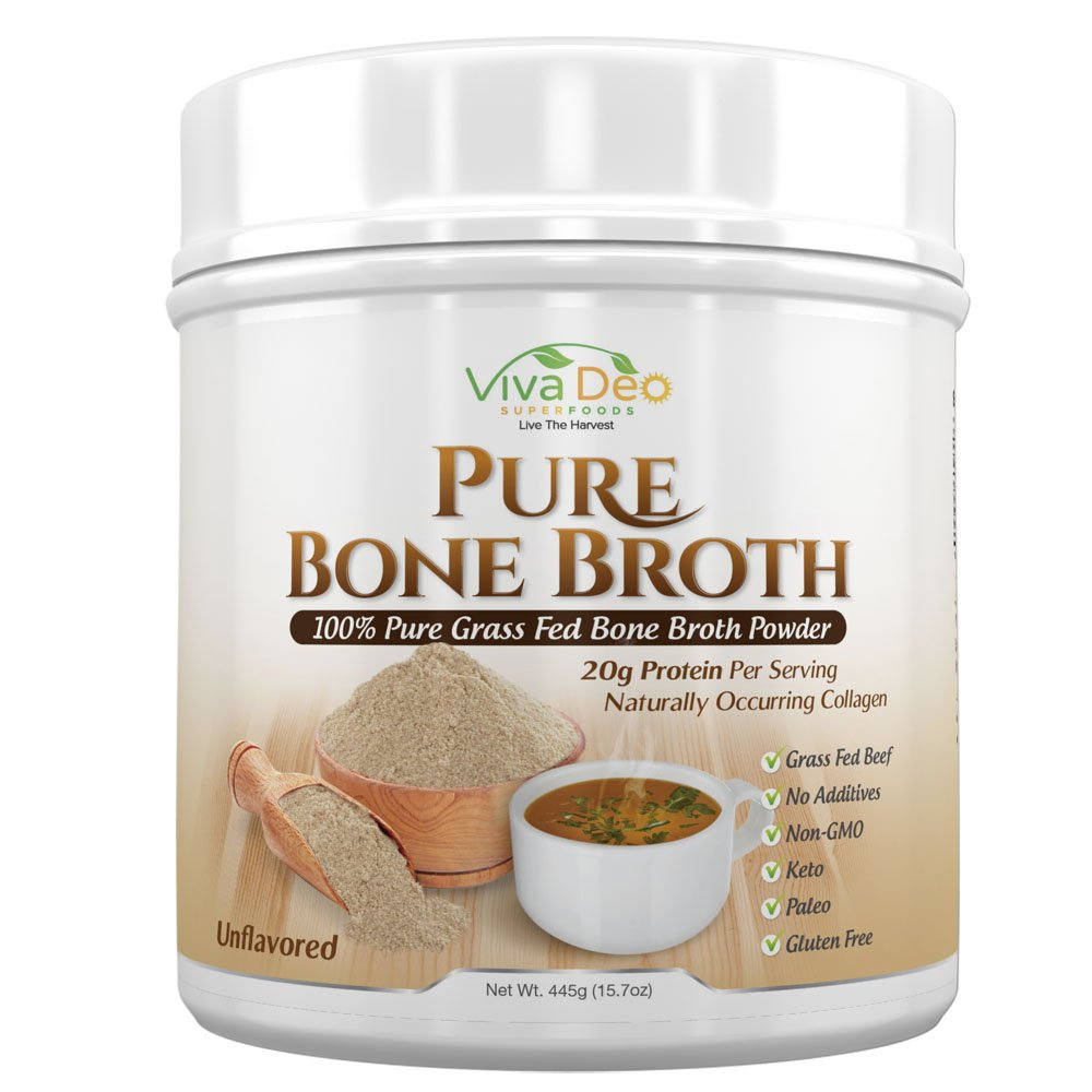 Grass Fed Bone Broth Protein Powder | Antibiotic & Hormone Free | Tasteless Keto Diet Paleo Protein Powder w/Naturally Occurring Collagen Glucosamine & 19 Amino Acids - 20 Grams Protein (Unflavored) by Viva Deo