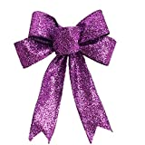 Clearance Tuscom 1PC Beautiful Artificial Decorative Bow for Halloween or Christmas Tree Ornament Festival Supplies (Purple)