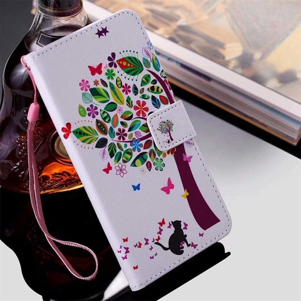 Qiaogle Teléfono Case para Samsung Galaxy J5 2015 / SM-J500 - Cartoon Painted PU Cuero Billetera Clamshell Carcasa Cover - KT73 / Mariposa Árbol