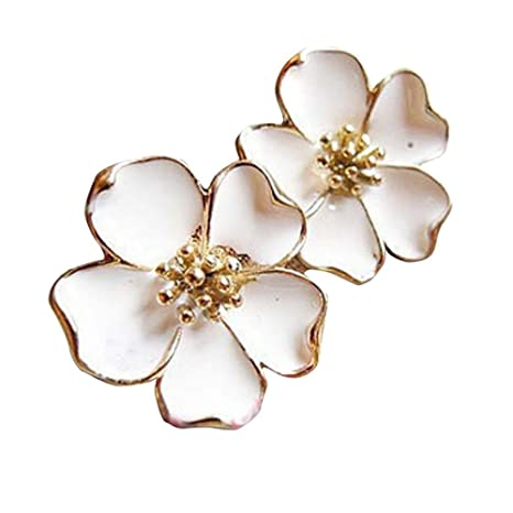 c220af3387c53 Newest trent HOT Sale Elegant White Five Leaves Jasmine Flower Floral  Earring Ear Studs