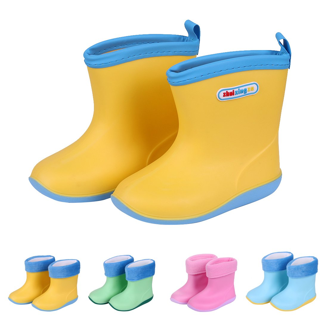 Asgard Cute Rain Boots for Kids Waterproof Candy Color Ankel Rubber Boots, with Warm Cosy Soft Socks Y19