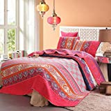 Exclusivo Mezcla 100% Cotton 3-Piece Multicolored Boho Queen Size Quilt Set as Bedspread/Coverlet/ Bed Cover- Lightweight, Reversible& Decorative