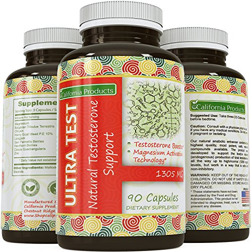Soutien testostérone naturelle Capsules - Par produits Californie - magnésium activé, formule toute naturelle - Made in Certified nous Facility - Pour la croissance musculaire et entraînement Puissance - Perte de poids - - Libido 90 Capsules