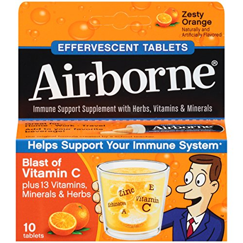 [Airborne Zesty Orange Effervescent Tablets, 10 count - 1000mg of Vitamin C - Immune Support Supplement] (Vitamin C Effervescent Tablets)