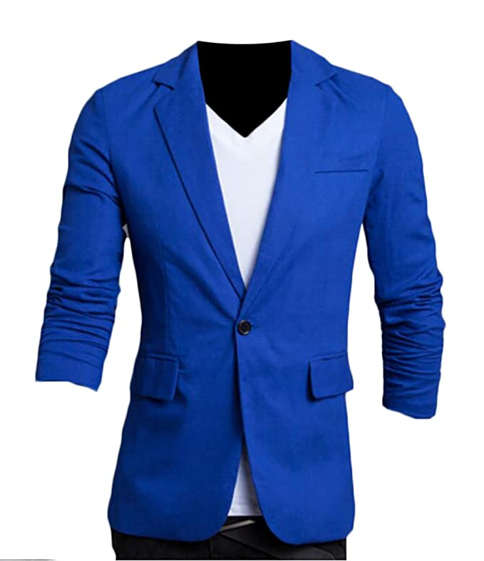 Discount Emastor Men Fit Slim Peaked Lapel 1 Button Cool Business Blazer for cheap