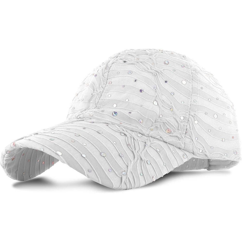 Easy-W White_100% Polyester Glitter Baseball Cap Golf Hat Rhinestone