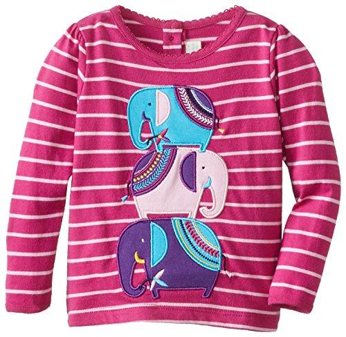 JoJo Maman Bebe Baby Girls' Elephant Top, Raspberry/Pink Stripe, 18 24 Months