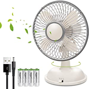 """K18 USB Desk Fan, 5"""" Ultra Quiet 2 Speed Portable Small Mini Desktop Personal Table Cooling Fan for Office Computer Laptop Travel School Kids Outdoor Camping Beach Powered by USB/AA Batteries - White"""