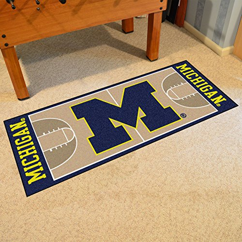 FANMATS 18506 University of Michigan Basketball Runner - Michigan University Basketball Rug