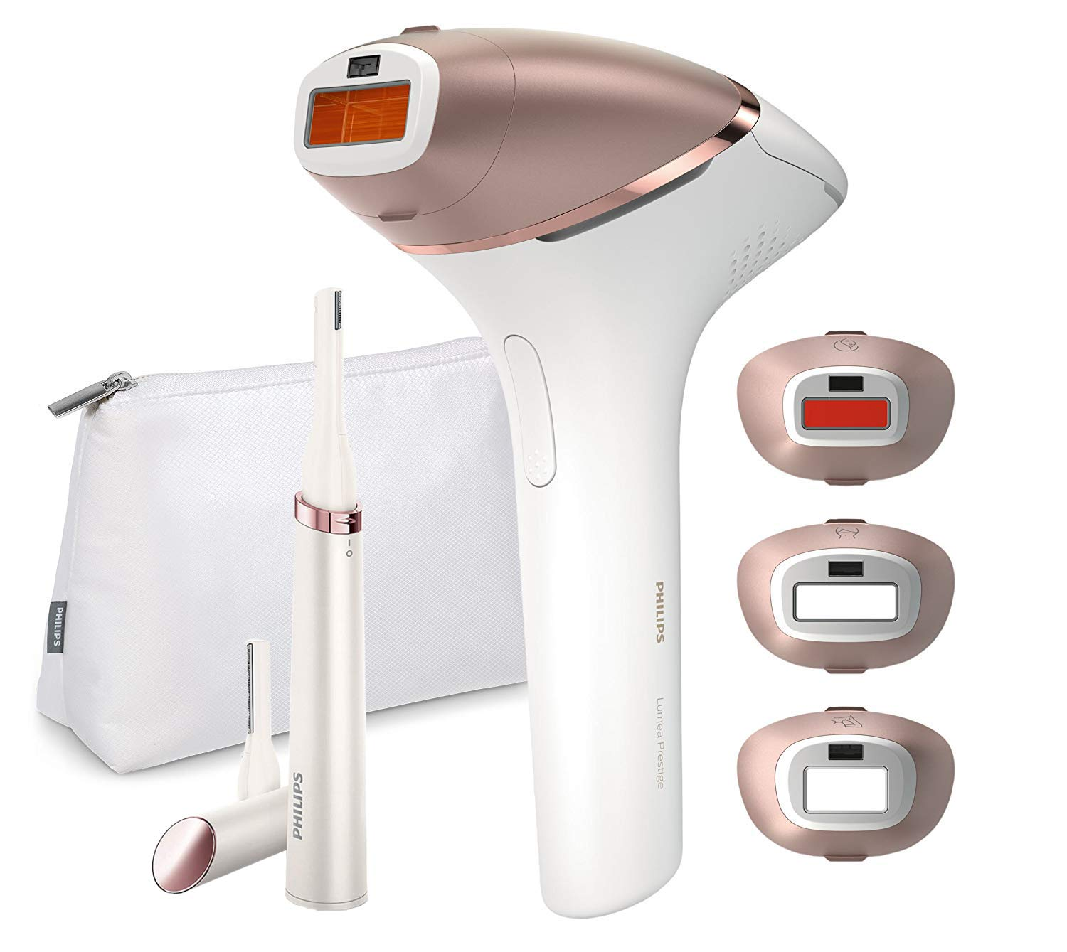 PHILIPS Lumea BRI956/60 Prestige IPL Hair Removal Tool with 4 Attachments for Body, Face, Bikini and Armpits and 1 Satin Compact Touch-Up Pen Trimmer - Cordless and Corded Power - Newest Version