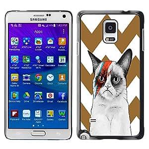 - Chevron Grumpy Cat - - Monedero pared Design Premium cuero del tir¨®n magn¨¦tico delgado del caso de la cubierta pata de ca FOR Samsung Galaxy Note 4 SM-N910 N910 Funny House