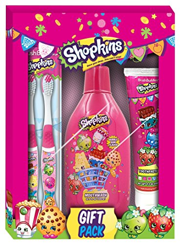 Flavored Toothpaste Apple (Brush Buddies Shopkins 3 Piece Gift Pack)