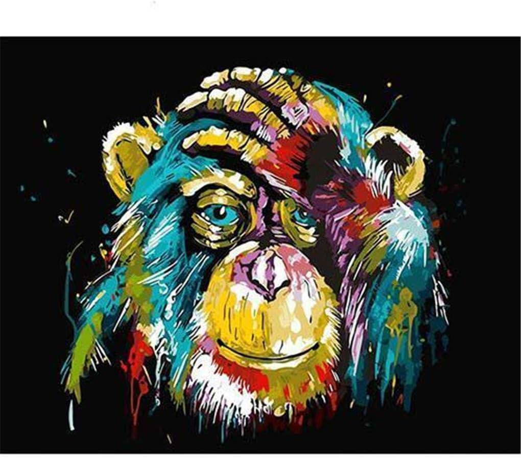 Kit de pintura guiada por números, al óleo, para niños y adultos principiantes, 40,4 x 50,8 cm, Mono tocándose la cabeza Marco.