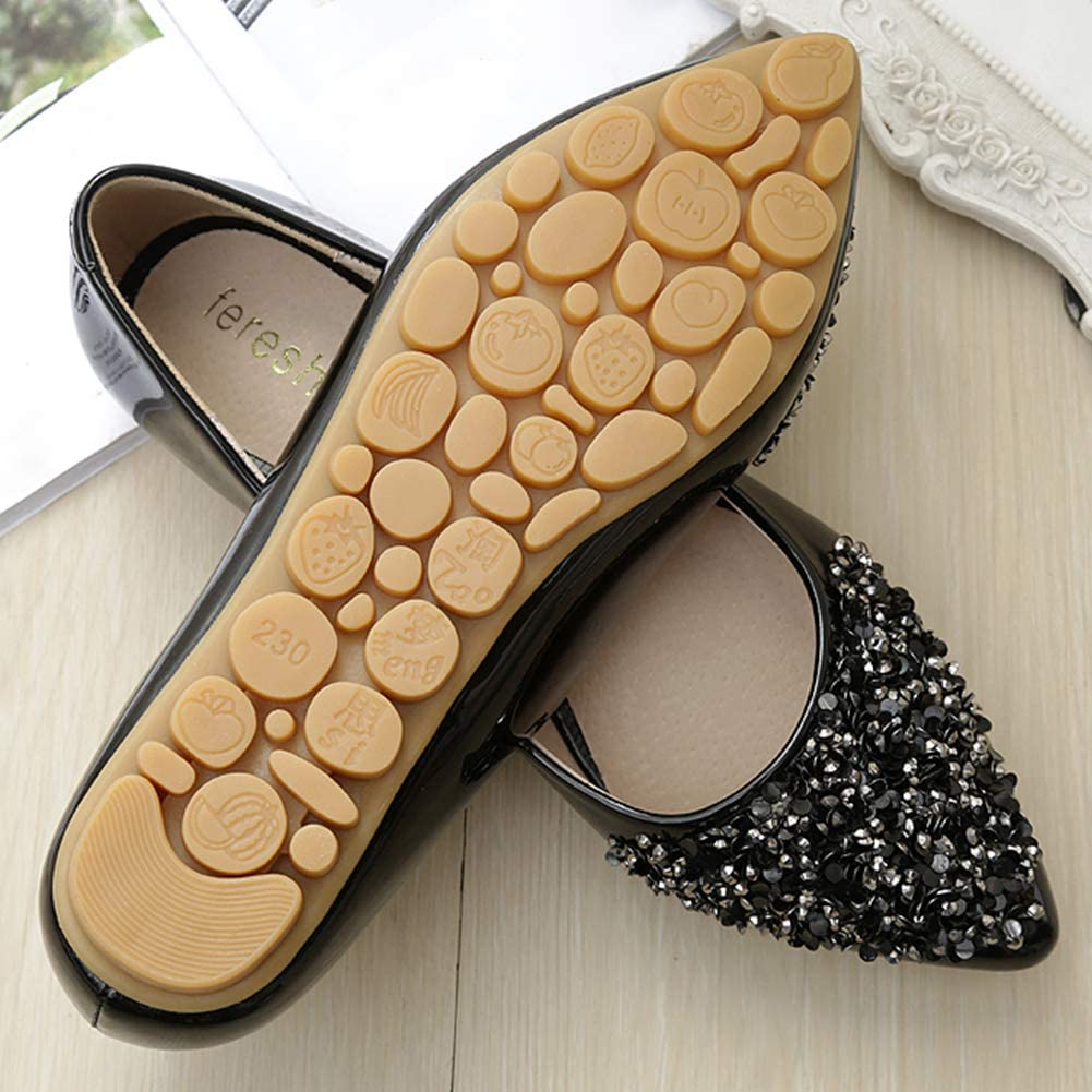 6.5 UK Black fereshte Womens Flat Glitter Bridal Bridesmaid Prom Dolly Sparkly Pumps Slip On Shoes