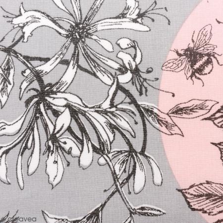 Tessuto Rico Toile De Jouy Uccelli Sfondo Grigio E Rosa Per