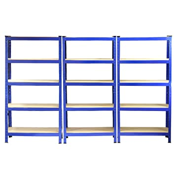 Racking Storage Shelving 75cm Heavy Duty Garage 5 Tier Black u0026 Blue Steel Shelf Unit 75cm  sc 1 st  Amazon UK & Racking Storage Shelving 75cm Heavy Duty Garage 5 Tier Black u0026 Blue ...